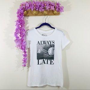 """Disney Cinderella """"Always Late"""" shirt sleeve tee"""